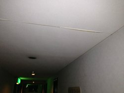 collapsing ceiling in hallway
