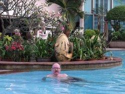 My husband in the pool.