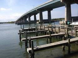 A view of the pelicans, the heron, even a porpoise....and the Port Orange Bridge.
