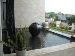 Water feature in front of the hotel
