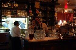 Happy Bartender and Waitress