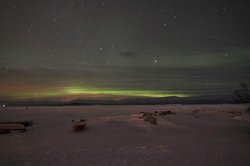 Aurora appearing in the horizon