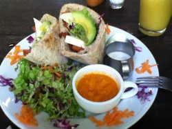 Lentil burger at La Botanica Organica
