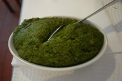 Spinach mash -   with onion n potato mashed in it?!