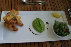 Fish, chips, and mushy peas