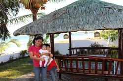 Nipa huts on the hotel grounds