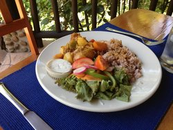 Traditional Belizean lunch at Table Rock - stewed chicken, beans and rice