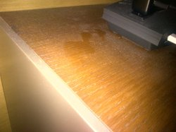 This was the level of dust on the furniture in my room