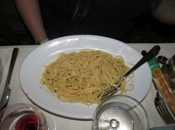 Pasta.  They'd run out of pesto.  Really???