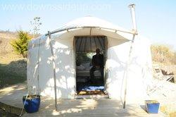 Glamping in a yurt