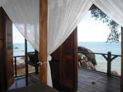 Vue depuis notre lit, a Rumah Laut
