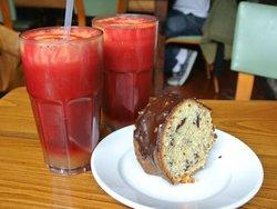 the ABC juice and a piece of orange & chocolate cake