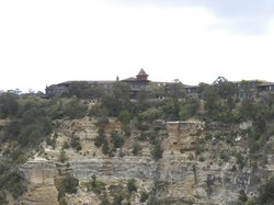 View of back of hotel overlooking canyon