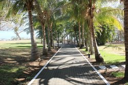 Walkway from beach to pool and bar