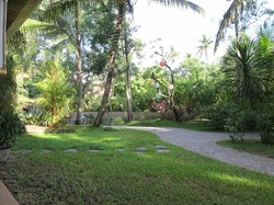 the garden with the paths leading to the main area of the resort