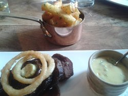 Fillet of Lancashire Beef ( cooked however you like! ) with Hand and Flowers Chips, Bearnaise Sa