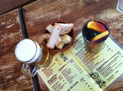 beer, sangria and a little bread and cheese ... and a little peek of the menu