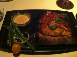 Cedar planked salmon with soy-lemon sauce