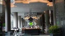 Looking across the lobby area to Lime Cafe where breakfast is served.