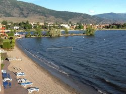 View of beach and Osoyoos Lake from balcony of room.