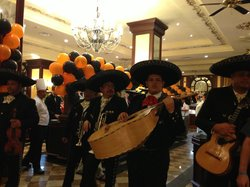 Band at the buffet (Mexican night) - was Halloween hence the balloons!