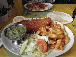 Large Cod, standard Chips and Mushy Peas