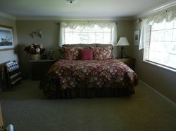 Huge bedroom with a very comfy king size bed