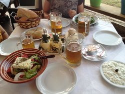 Lunch at Andreas with tzatziki and fresh salads