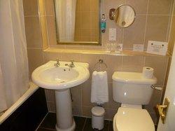 lovely clean bathroom. powerful shower!