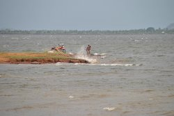 Bathing at Parakarama Samudra