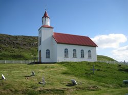 The church at the base of Helgafell.