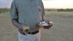 Wine & samosas to accompany a beautiful sunset