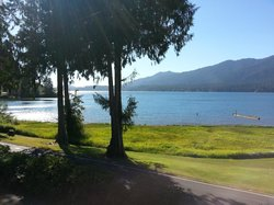 """The """"million dollar"""" view of Lake Quinault from a Village Inn room at Rain Forest Resort Village"""