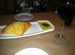 Bread with Olive Oil and Pesto and a glass of Merlot