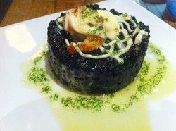 Black rice (risotto), prawns & aioli;)