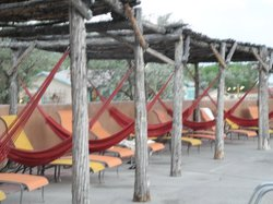 Around the big pool--pairs of deck lounges with a hammock hanging between each pair.