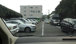 駐車場狭い(画像左が駐車スペース)、路上駐車が多し