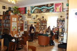 Great Coffee, Fresh Sandwiches, Homemade Soups, Local Art, Tonnes of books, cake too!