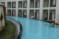 The private swimming pool for the swim-up suites