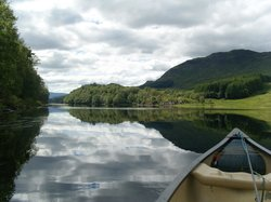 view from canoe on site loch (loch Lubhair)