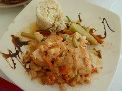Seafood-stuffed fish