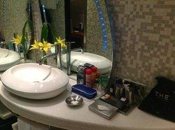 designer mirror in washroom
