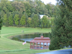 Great views from the top of hill looking over lake and gazebo