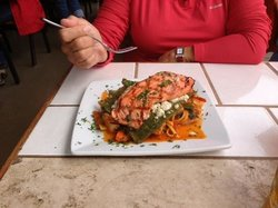 salmon with pablano peppers and noodes