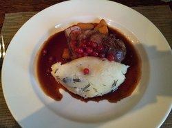 Lamb rump with rosemary mash