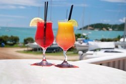 Cocktails on the sailing club balcony