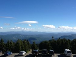 View from the patio at the Timberline Lodge