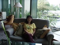 Relaxing in the lounge of Sutera Harbour