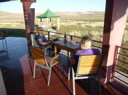 Enjoying wine on the veranda