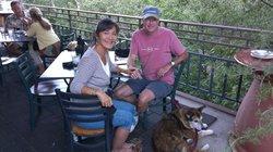 Enjoying dinner outside at Ken's Creekside Cafe